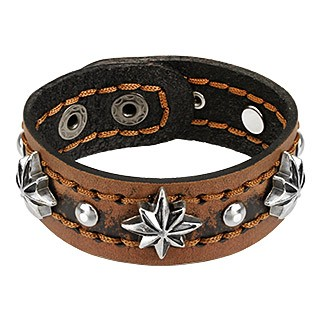 Leather bracelet with steel stars and balls