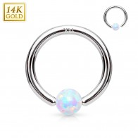 14 Kt. solid white golden ball closure ring with Opal ball