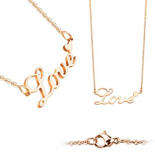 Chain with LOVE pendant and heart on the E
