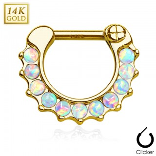 Solid gold septum clicker with row of Opal stones