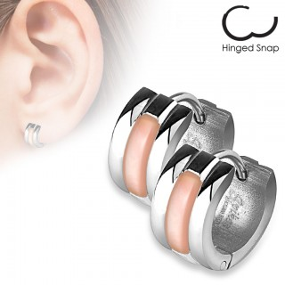 Ear hoops with pink stripe