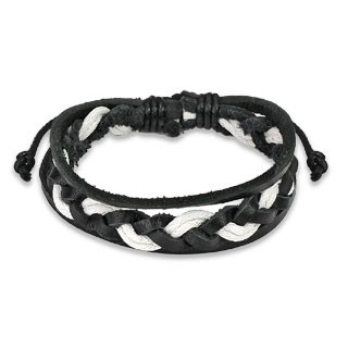 Black and white leather bracelet with double woven centre