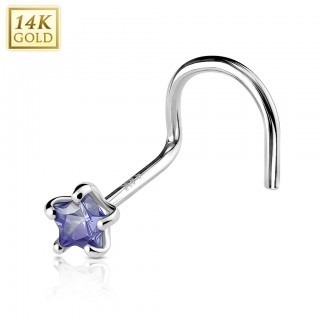 Solid white gold screw nose piercing with coloured crystal star