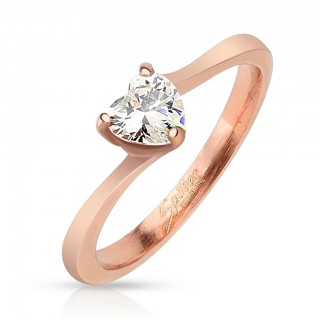 Rose gold ring with heart of gemstones