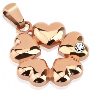 Rose gold plated pendant with 5 hearts and gem