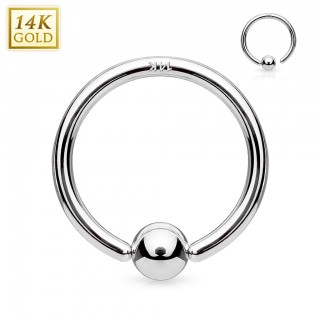 14 Kt. solid white gold ball closure ring with attached ball