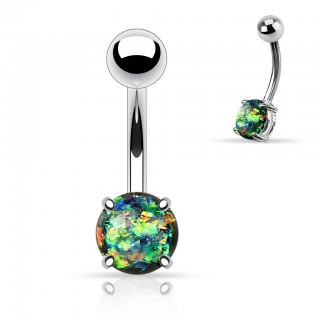 Belly button piercing with prong Glitter Opal ball