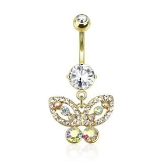 Gold plated belly button bar with butterfly dangle