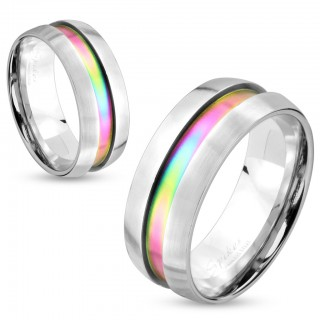 Steel ring with rainbow centre