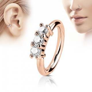 Bendable piercing ring with three clear crystals