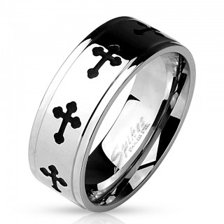 Steel ring with black Celtic crosses