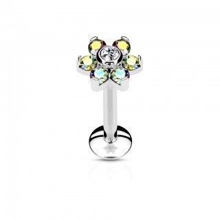 Silver internally threaded labret with flower on top