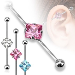Industrial piercing with coloured diamond in centre