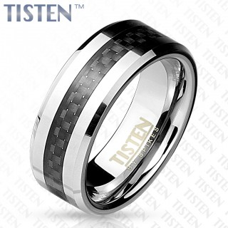 Silver Tisten ring with woven black centre