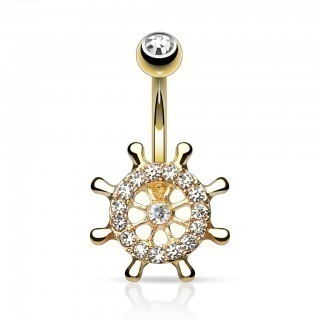 Gold belly ring with helm and clear crystals