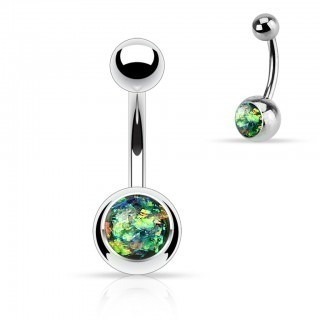 Silver belly bars with enclosed glitter Opal ball