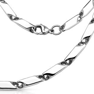 316L stainless steel link necklace with wide prism cut links