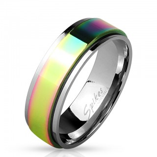 Steel ring with rainbow spinner