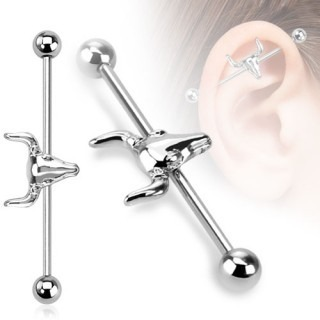 Industrial piercing with sheep skull