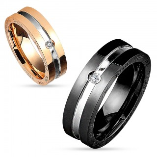 Couple ring with centre line and CZ stone