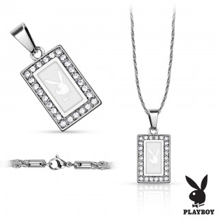 Chai with square Playboy logo with crystal paved edge
