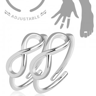 Dubble adjustable mid ring with infinity symbol