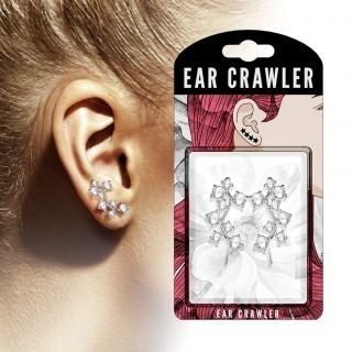 Pair ear crawlers with eight clear diamonds