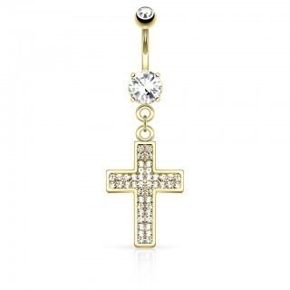 Coloured belly bar with clear gemmed cross