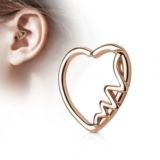 Coloured piercing ring in heart shape with heartbeat