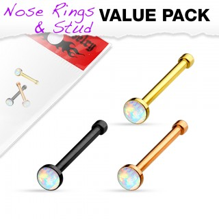Discount set of three nose studs with opal balls and variating platings