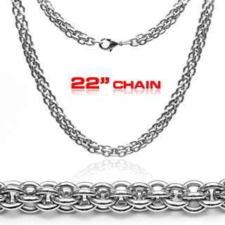 316L stainless steel necklace with double round links