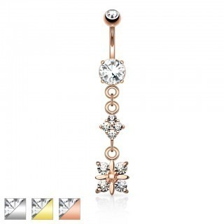 Coloured belly bar with clear crystals and flower dangle