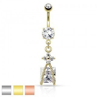 Belly bar with small flower and square diamond