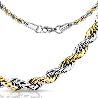 Dualtone chain with rope design and gold plating