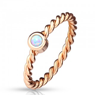 Rose gold braided ring with opal
