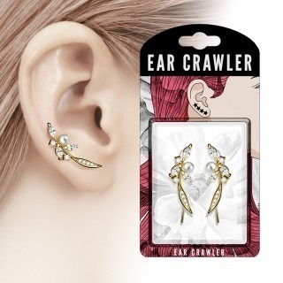 Pair ear crawlers with flower shape and pearl