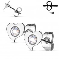 Pair of ear studs with clear crystals centered in hearts