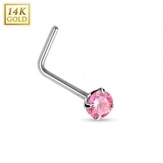 Solid white gold stud nose piercing with coloured round crystal