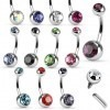 11 mm long internally threaded belly button piercing with coloured stone