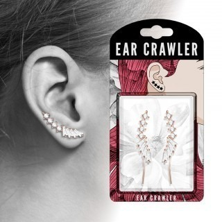 Pair ear crawlers with round and baguette cut diamonds