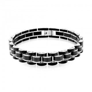 Black with silver chain bracelet