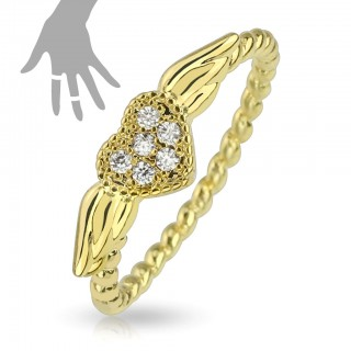Adjustable gold mid ring with heart wing and six gemstones