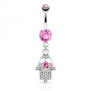 Belly button ring hamsa hand and coloured gemstones