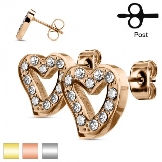Pair of ear studs with hollowed heart