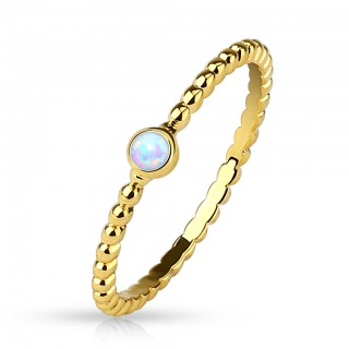 Gold 14 Kt. plated mid ring with round opal