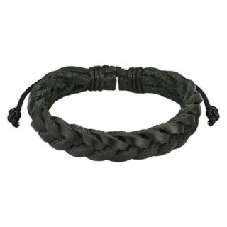 Black leather bracelet with woven strips