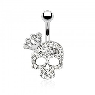 Belly bar with gem paved skull and crown