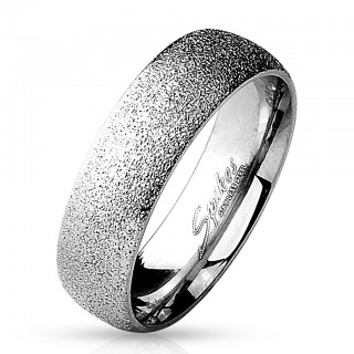 Steel ring with silver sand blast
