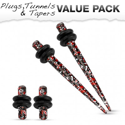 Stretch set inc. plugs met rood zwart spetter patroon