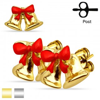 Pair of studs with ribbon and Jingle Bells